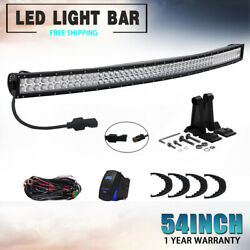 9D 54Inch Curved LED Light Bar Spot Flood Offroad Truck SUV Dual-Row Driving