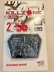 New NAP Killzone Cut On Contact Tip Broadheads 2 Blade 100 Grain 3 Pack 60-996