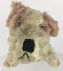 ANTIQUE Mohair Straw Stuffed Dog TERRIER Child Toy Glass Eyes ADORABLE