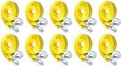10-pack 3 Tons Car Tow Cable Towing Strap Rope With Hooks Heavy Duty 10 Ft