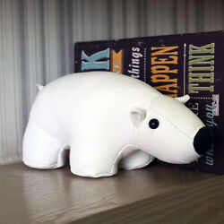 Leather White Bear Door Stopper Animal Gift Home Decoration For Bedroom