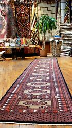 Fine Vintage 1960-1970and039s Wool Pilenatural Dye Turkoman Runner Rug 2and0396and039and039x10and03911and039and039