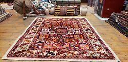 Pre-1900s Antique Wool Pile 5and0391x6and0397and039and039 Natural Dye Dowry Rug For Collectors