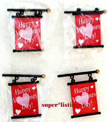 Dept. 56 Banners For Lamppost Happy Valentine's Day Set Of 4 New 53048