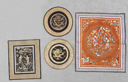 Antique Chinese China Embroidery Hanging Metal Thread Rank Buzi