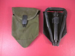 Vietnam Era Us Army Collaspible Tri-fold Entrenching Tool Cover And Folding Shovel
