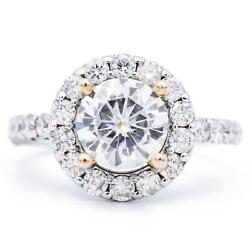 8mm Round Moissanite 14k Two Tone White And Rose Gold Halo Ring