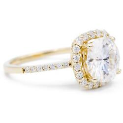 8mm Round Moissanite 14k Yellow Gold Halo Diamond Micro Pave Ring