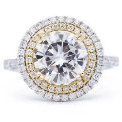 9mm Round Moissanite 14k Two Tone White And Yellow Gold Halo Ring