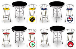 3 Pc Black Bar Table Set With Swivel Stools Colored Cushions Vintage Gas Themed
