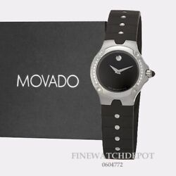 Authentic Movado Womens Sports Edition Black Dial Rubber Strap Watch 0604772