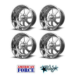 (4) 24x12 American Force Polished SS8 Burnout Wheels For Chevy GMC Ford Dodge