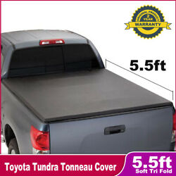 Soft Tri-Fold Tonneau Cover For 2007-2018 TOYOTA TUNDRA Crew Max 5.5FT Short Bed
