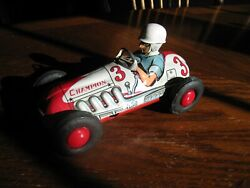 Mint Rare Vintage 1957 Yonezawa Tin Friction Toy, 3 Champion Race Car From Indy