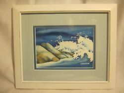 Vintage Original Mary Croxton Signed Water Color Painting Waves Framed Matted