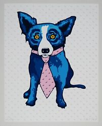 George Rodrigue Blue Dog Shades Of The 50s White Silkscreen Print Signed Artwork