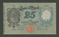 Italy Banco Napoli 25 Lire 1918 Ps855 About Vf World Paper Money