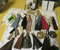 NEW MICHAEL KORS KEY Bag CHARMS LARGE LEATHER TASSEL Flower  & others  KEY FOB