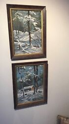 2- Originals Paint By Number Watercolors Circa 1940and039s 12x15 Framed Make Offer