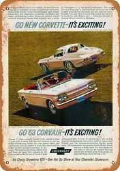 Metal Sign - 1963 Corvette And Corvair - Vintage Look Reproduction