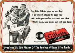 Metal Sign - 1944 Thin Gillette Razor Blades - Vintage Look Reproduction