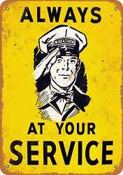 Metal Sign - Always At Your Service Marathon Oil - Vintage Look Reproduction