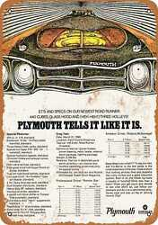 Metal Sign 1969 Plymouth Road Runner Specs Vintage Look Reproduction