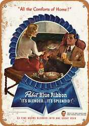 Metal Sign - 1947 Pabst Beer And Popcorn - Vintage Look Reproduction