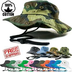 Mens Outdoor Boonie Bucket Hat Fishing Camping Military 100% Cotton Safari Cap $9.89