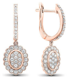 2.60cts Natural Round Diamond 14k Solid Rose Gold Hoops Earring Clip On Back