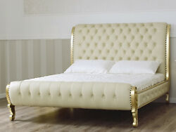 Lit Double King Size Ola Style Baroque Franandccedilais Feuille Or Similicuir Champagne