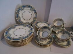 39 Piece Lot - Minton H3727 - Blue Band W/flowers And Scrolls, White Ctr