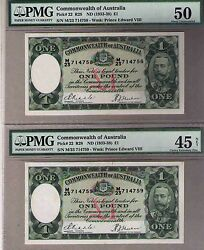Australia1933 R28 Pick22 Andpound1 Consecutive Pair Riddle/sheehan R28-pmg 50 45 Ef