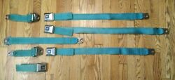 1960and039s-1970and039s Gm Cadillac Eldorado Rear Seat Belt Set Turquoise Great Shape