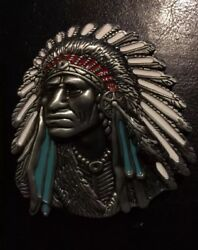 Indian Chief Belt Buckle Solid Metal War Native American Man Cave Collector Gift