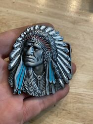 Indian War Chief Belt Buckle Native American Western Collector Solid Metal Gift