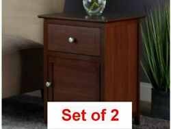 Set of 2 Antique Walnut Luxurious Nightstands Accent End Table Bedside Drawer