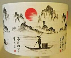 Oriental Scene Lampshade Vintage Shabby Chicantique Black And White Free Gift