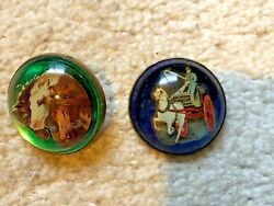 Antique Vintage Domed Glass Horse Bridle Rosettes - One Pin 1 Rosette