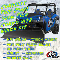 Kfi Polaris And03912-and03914 Ranger 900 Snow Plow Complete Kit 72 Poly Straight Blade