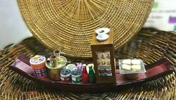 Floating Boat Miniature Thai Cafe Market Coffee Drink Food Clay Doll Decor Home