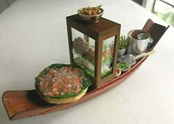 Thai Miniature Food Noodle Floating Boat Soup Market Clay Doll Home Decor Sell