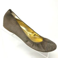 J Crew Cece Brown Suede Studded Ballet Flat Slip On Italy Womens Shoe Size 9