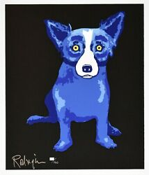 George Rodrigue Blue Dog Puppy Love Black Silkscreen Print Signed Numbered Art