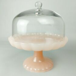 Hearth And Hand Magnolia Easter Scalloped Pink Milk Glass Cake Stand With Cloche