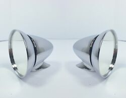 Pair 2 Chrome Gt Racing Rear View Mirrors Bullet Style 4.5and039and039 Diameter Mirror