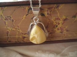 Vintage Jewelry Sterling Silver Amber Pendant Chain Necklace Antique Jewellery
