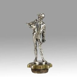 Art Deco Silver Plated Bronze Car Mascot And039jockeyand039 By Eugene Lalouette