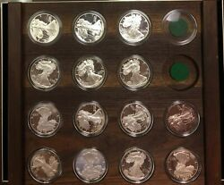 1986-1999 Proof Silver Eagles In A Wood Plaque - Complete 20th Century -14 Coins