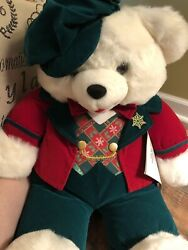 1997 Snowflake teddy bear plush stuffed pre-owned GUC red green white toy decor